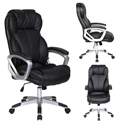 2xhome - Black - Deluxe Professional PU Leather Tall and Big Ergonomic Office High Back Chair Boss Work Task Computer Executive Comfort Comfortable Padded Loop Arms Nylon Base Swivel Adjustable Seat Furniture for Conference Room Receiption