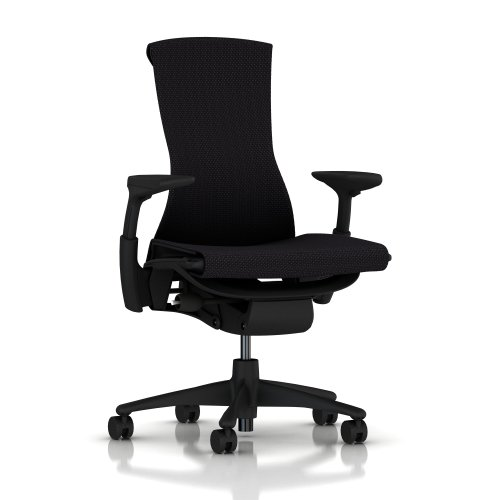 Embody Chair by Herman Miller: Fully Adjustable Arms - Standard Carpet Casters - Black Balance Seat/Graphite Frame and Base