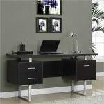 Monarch Specialties Cappuccino Hollow-Core/Silver Metal Office Desk, 60-Inch