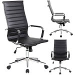 2xhome Executive Office Chair Ribbed PU leather With Wheels Arms, Arm Rest, Tilt Adjustable Seat, Black