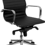 Mid-Back Black Ribbed Upholstered Leather Swivel Conference Chair