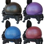 Isokinetics Inc. Brand Adjustable Back Exercise Ball Chair - Blue 52cm Ball - Exclusive: Office size 60mm/2.5