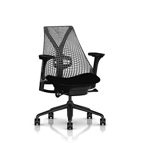 SAYL Chair by Herman Miller - Fully Adjustable Arms and Seat - Tilt Limiter and Seat Angle Adjustment - Slate Grey Back, Black Arms, Black Seat, Black Frame and Base W/Lumbar