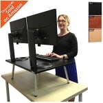 Executive Stand Steady Standing Desk - Stand up Desk Converter - Holds Two Monitors! (Black)