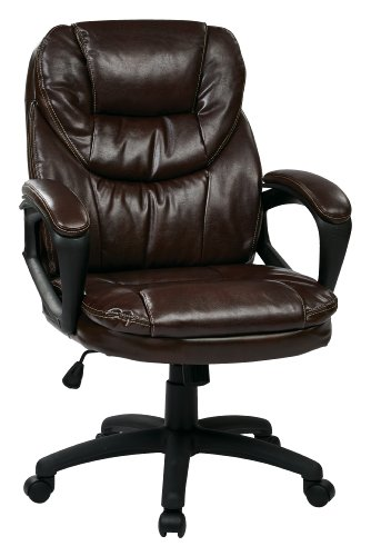 Office Star Faux Leather Manager's Chair with Padded Arms